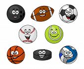 stock photo of cricket ball  - Set of cartoon sports equipment with a bowling ball - JPG