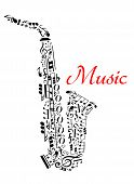 picture of classic art  - Saxophone with musical notes for entertainment and classic music concert design - JPG
