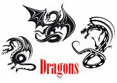 stock photo of prehistoric animal  - Black danger dragons in tribal style for tattoo - JPG