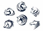 stock photo of mustang  - Horse mascots and emblems with stallions - JPG
