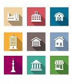 image of barn house  - Flat buildings icons set on colourful square web buttons depicting industry hospital barn skyscraper garage - JPG