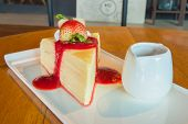 pic of crepes  - Crepe cake with strawberry sauce in dish - JPG
