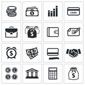 stock photo of paycheck  - Money finance icons set on a white background - JPG