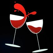 image of wine-glass  - vector illustration of wine glasses  - JPG