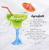 stock photo of ingredient  - Margaret cocktails drawn watercolor blots and stains with a spray - JPG