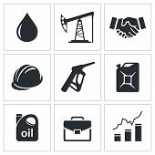 foto of petroleum  - Petroleum industry icon set on a white background - JPG