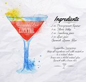 picture of cocktail menu  - Cosmopolitan cocktails drawn watercolor blots and stains with a spray - JPG