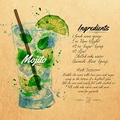 picture of cocktail menu  - Mojito cocktails drawn watercolor blots and stains with a spray - JPG