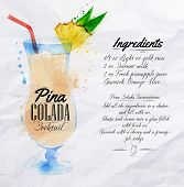pic of pina-colada  - Pina colada cocktails drawn watercolor blots and stains with a spray - JPG