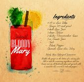 stock photo of cocktail menu  - Bloody mary cocktails drawn watercolor blots and stains with a spray - JPG