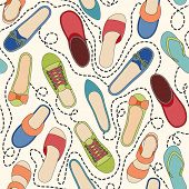 picture of dash  - Seamless pattern with colored shoes and dashed lines - JPG