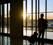 picture of carry-on luggage  - Silhouette of man with luggage standing near window in airport - JPG