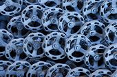 foto of dispatch  - Background from hand wheel of industrial valves ready for dispatch on Euro pallet - JPG