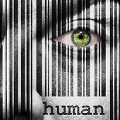 stock photo of superimpose  - Barcode with the word human as concept superimposed on a man - JPG