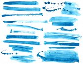 Watercolor blue / ink brush strokes collection poster