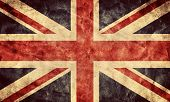 stock photo of canvas  - The United Kingdom or Union Jack grunge flag - JPG