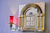 image of covenant  - Tabernacle with lit candle representing the presence of God