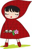 stock photo of little red riding hood  - Little Red Riding Hood Holding a pink flower - JPG