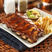 picture of baby back ribs  - bbq ribs with cole slaw and french fries - JPG
