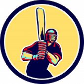 picture of cricket bat  - Illustration of a cricket player batsman with bat batting facing front set inside circle done in retro style on isolated background - JPG