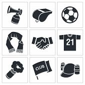 foto of offside  - Attributes Soccer fan icon collection on a white background - JPG