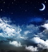 image of moon stars  - Elegant abstract background of night sky with stars and moon - JPG