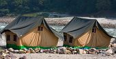 stock photo of gang  - Camp on the banks of the Ganges River - JPG