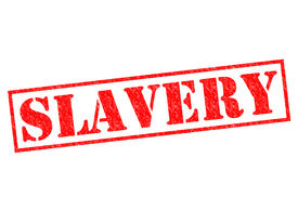 foto of slavery  - SLAVERY red Rubber Stamp over a white background - JPG