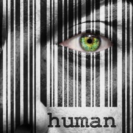 picture of superimpose  - Barcode with the word human as concept superimposed on a man - JPG