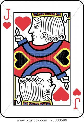 Stylized Jack of Hearts with strong outline