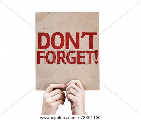 Don't Forget! card isolated on white background