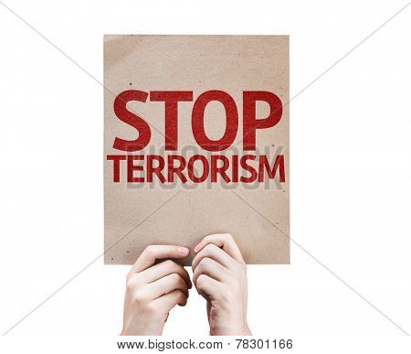 Stop Terrorism card isolated on white background
