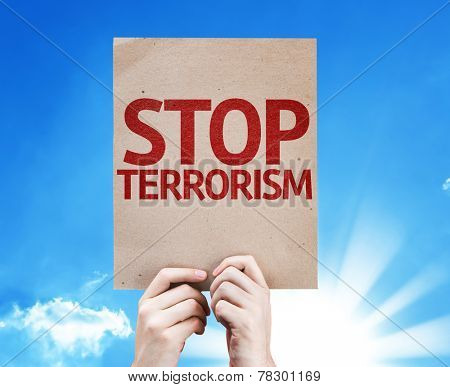 Stop Terrorism card with beautiful day