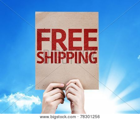 Free Shipping card on sky background