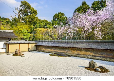 Kyoto, Japan at Ryoan-ji Temple Zen garden in the spring season.