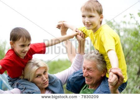 Elderly Couple With Grandchildren