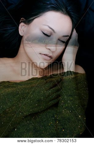 Double exposure portrait of serene woman combined with photograph of field