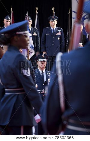 NEW YORK - NOV 11, 2014: Members of the US Air Force Honor Guard line up in front of the VIP stage during the 2014 America's Parade held on Veterans Day in New York City on November 11, 2014.