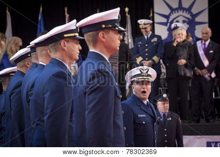 NEW YORK - NOV 11, 2014: Members of the US Coast Guard line up in front of the VIP stage during the 2014 America's Parade held on Veterans Day in New York City on November 11, 2014.