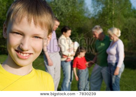 Large Family  In The Park