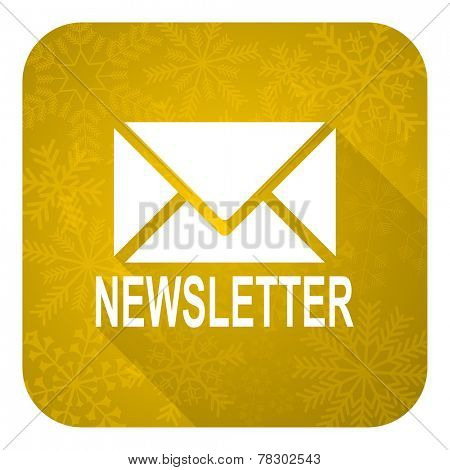 newsletter flat icon, gold christmas button