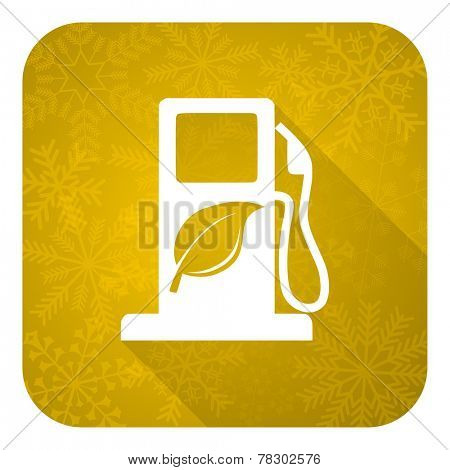 biofuel flat icon, gold christmas button, bio fuel sign