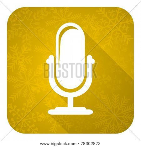 microphone flat icon, gold christmas button, podcast sign