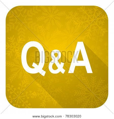 question answer flat icon, gold christmas button