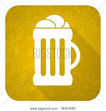 beer flat icon, gold christmas button, mug sign
