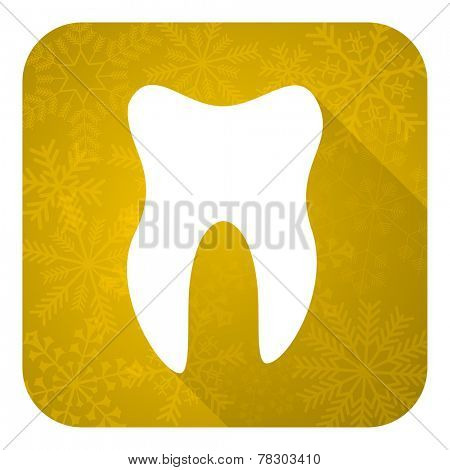 tooth flat icon, gold christmas button