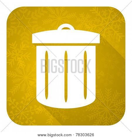 recycle flat icon, gold christmas button, recycle bin sign