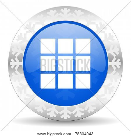 thumbnails grid blue icon, christmas button, gallery sign
