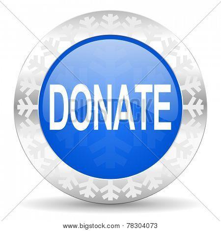 donate blue icon, christmas button