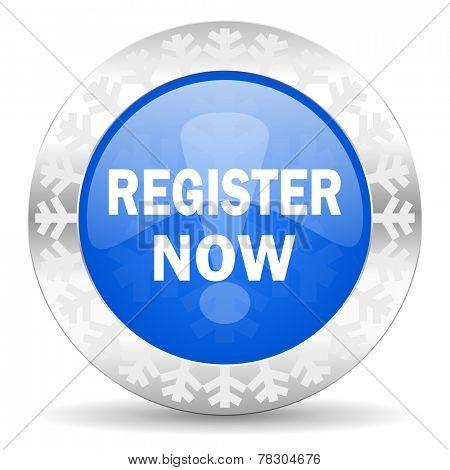 register now blue icon, christmas button